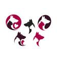 pet shop label set animals dog cat parrot icon vector image vector image