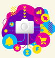 Photo camera on abstract colorful spotted vector image vector image