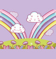rainbow with happy fluffy clouds and flowers vector image
