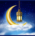 ramadan kareem lantern realistic moon vector image