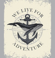 retro travel banner with ship anchor and whale vector image vector image