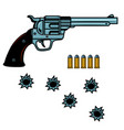 revolver with cartridges and bullet holes design vector image