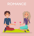 romance valentine day poster couple sit on knees vector image