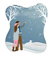 romantic couple standing in winter season with vector image vector image