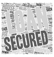 Secured Loans Equity text background wordcloud vector image vector image