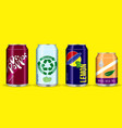 set drinking soda water in aluminium can vector image