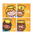 set of kings and queen cartoons vector image