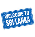 sri lanka blue square grunge welcome to stamp vector image
