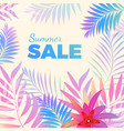 summer sale bright poster with palm leaves on vector image vector image