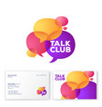 talk club logo language school colored bubbles vector image
