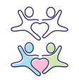 two people holding hands icon symbol with love in vector image vector image
