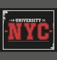 university college new york typography t-shirt vector image vector image