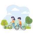 urban ecology young woman and man riding bikes vector image vector image