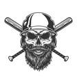 vintage monochrome skull in baseball helmet vector image vector image