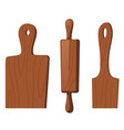wooden kitchen tools for cooking food vector image