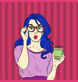pop art surprised blue hair woman face vector image