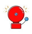 Red ringing alarm bell in retro style vector image