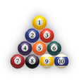 Billiard balls on table Eps 10 vector image