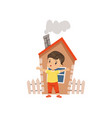 brave little boy defending his home vector image
