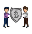 business person lifting shield with bitcoin vector image vector image