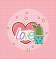 cactus sticker kawaii style vector image