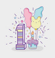 cake with candle and balloons to birthday vector image