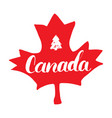Canada hand drawn maple leaf with calligraphy