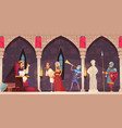 castle interior people banner vector image vector image