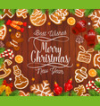 christmas gingerbread cookies on wooden backdrop vector image vector image