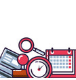 clock time with set icons vector image