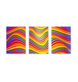 colorful covers with line art wavy stripes 3d vector image