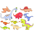 Cute dinosaurs set vector image vector image