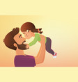 cute little girl kid kisses his happy father vector image vector image