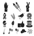 day of patriot holiday black icons in set vector image vector image