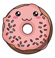 Donut with kawaii face design vector image vector image