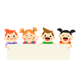 Four kids holding blank banner on white background vector image vector image