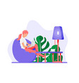 freelancer woman with laptop in beanbag chair vector image
