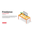 freelancer workplace working at home and home vector image vector image