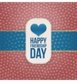 Friendship Day paper Banner with blue Ribbon vector image vector image