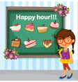 Girl with sign vector image vector image