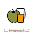 glass of fresh apple juice icon thanksgiving vector image
