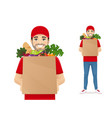grocery delivery man vector image