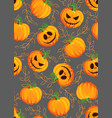 halloween pumpkin seamless pattern on gray vector image vector image