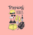 hand drawn summer pattern tropical vector image