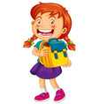 happy girl holding school bag vector image