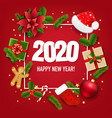 happy new year banner with poinsettia vector image vector image