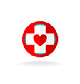 Heart and cross sign vector image vector image