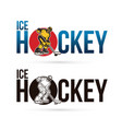 ice hockey text with ice hockey player action vector image vector image