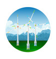 icon wind turbines on the ground vector image