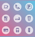 information icons line style set with traffic vector image